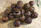 "Set/12 Primitive Rusty Jingle Bells Pumpkin Halloween Jack-O-Lantern 1"" 26mm"