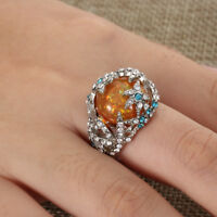 925 Silver Orange Fire Opal Starfish Wedding Engagement Bridal Ring Size 6-10--