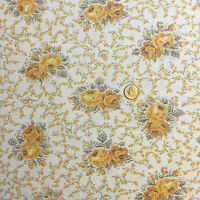 """Vintage Partial Feed Sack Lovely Yellow Roses w/Tiny Accent Flowers 21""""x18"""""""