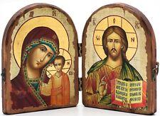 Wooden Icon Diptych Jesus Christ & Our Lady of Kazan Складень Спас и Казанская