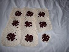 "Granny Squares 5.5"" Hand Made Crochet Afghan Unfinished ~ 8 Pc ~ Brown Cream"