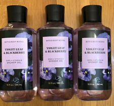 Set 3 Bath & Body Works VIOLET LEAF & BLACKBERRY Shea + Vitamin E Shower Gel NEW