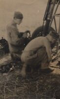 WWII German Luftwaffe Mechanics Working On Airplane RPPC Post Card Sized Photo