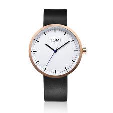 "Tomi Watch ""003"" Cuarzo Acero Inox IP Oro Rosa Blanco Cuero Negro Unisex Reloj"
