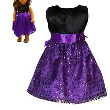 Handmade Purple Clothes Dress For 18 inch Toy Doll Party Toys Children