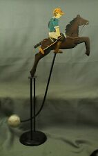 "metal Pendulum Rocking Horse & Rider Polo player balance toy 19"" tall"