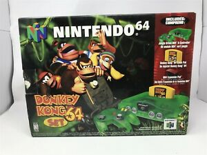 Nintendo 64 Jungle Green Donkey Kong Set DK Console 100% complete in box RARE