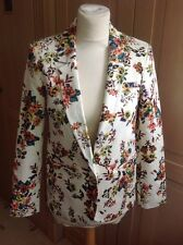 EYE CATCHING TOP SHOP FAUX EMBROIDERED FLORAL CREAM JACKET UK SIZE 10 BNWT