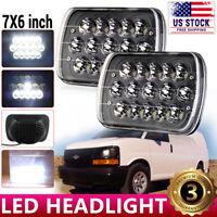 "For Chevy Express Cargo Van 1500 2500 3500 Truck 7x6"" 5x7'' LED Headlights Black"