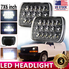 "For Chevy Express Cargo Van 1500 2500 3500 Truck 7x6"" 5x7'' LED Headlights Black"