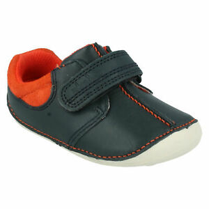BOYS CLARKS TINY JOE INFANT HOOK & LOOP TODDLER FIRST CASUAL LEATHER SHOES SIZE