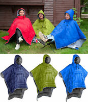 Outdoor Camping Hiking Cotton Down Poncho Coat Quilted Thermal Blanket Sleeping