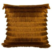 Luxurious FLICKER Glossy Fringed cushion with Velvet reverse 45x45cm, Bronze