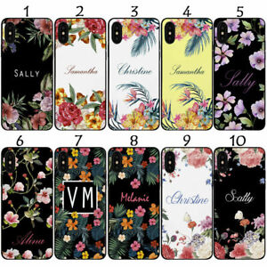 PERSONALISED NAME/INITIALS FLORAL BOTANICAL BLACK CASE SAMSUNG S21 S21+ S21Ultra