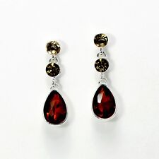earrings CLIP ON Silver Small Round Crystal Drop Yellow Brown YW8