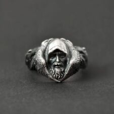 Rings Mens Viking Wolf Stainless Steel Eyhimd Norse Mythology Odin Raven Silver