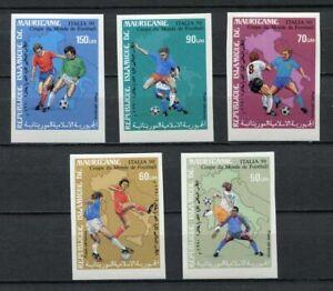 s6428) MAURITANIE 1990 MNH** WC Football'90- CM Calcio 5v IMPERF
