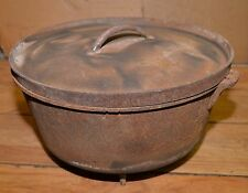 Rare 35 lb old west cast iron 3 footed range pot & lid collectible display pan