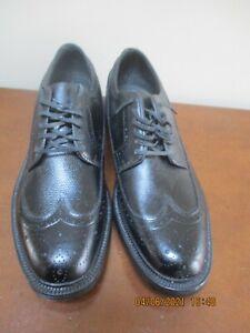 VTG HANOVER LB SHEPPARD Black Leather COMBINATION LAST Wingtip Shoes 11 C/A NEW