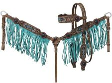 Browband Headstall - Breastcollar Set - Antiqued Leather and Metallic Beaded