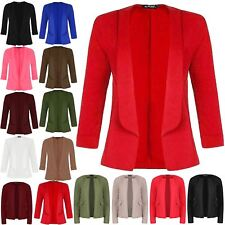 Womens Stretchy Front Open Short Turn Up Sleeve Ladies Blazer Coated Jacket