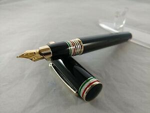 Montegrappa ITALIA Fountain Pen Black wth GT 18K-750 Gold Broad Nib