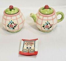 Mary Engelbreit 1998 Sugar Bowl & Creamer Set Rose Patch Enesco Home Decor