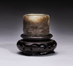 Chinese Antique White Brown Jade Thumb Ring,1800-1900
