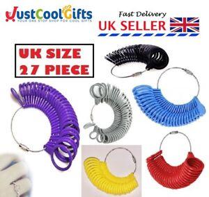 BRITISH FINGER SIZER RING GAUGE UK SIZES A-Z PLASTIC 27 PIECE UK SELLER
