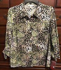 JM Collection Animal Print/Vertical Gold Striped Button Down Shirt Size 12P NWT