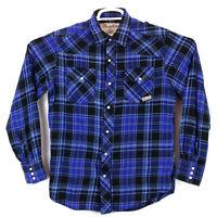 Wrangler Wrancher Pearl Snap Men's Medium Blue Plaid Button Down Western Shirt