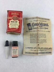 Vintage Pharmacy Medicine Bottle & Box Gold Medal Nasal Eze S.Pfeiffer MFG Co
