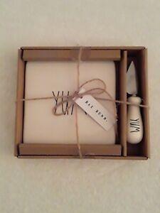 """Rae Dunn """"YUM"""" White Cheese Plate & Knife Gift Set"""