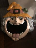 Vintage Halloween Ceramic Witch Open Mouth Unique Hand Painted