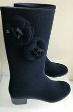CHANEL Camellia 39 (US 9 ) NEW, CC Logo, Navy Velor, Rubber Rain Boots Authentic