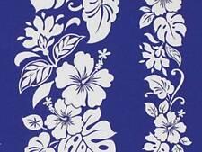100% Cotton Poplin Hawaiian Print Fabric, Royal & White Hibiscus Flower Design