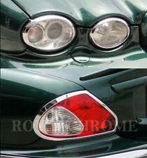 CHROME Front & Rear Light Trim COMBO for JAGUAR X-Type 01-09 4-DR Sedan Saloon