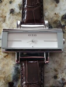 Ladies Guess watch with Michelle genuine Alligator Strap. new battery, excellent