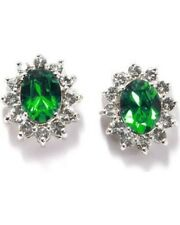Green Crystal Stud Earrings Fine Silver Plate