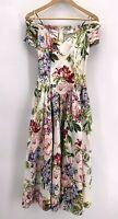 Vintage 90's Karin Stevens Floral Dress Size 8 Off Shoulder Cottage Core Boning