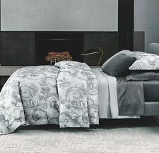 Sferra ISELLA F/Queen Duvet Cover Storm Grey Egyptian Cotton Sateen Jacquard New