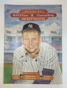 1983 Donruss Mickey Mantle Puzzle Poster Promo Ad Sheet 8 x 10 HOF Dick Perez