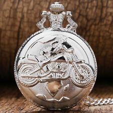 Silver Motocycle Design Men Women Quartz Pocket Watch Necklace Pendant Chain