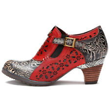 Bohemian Ethnic Leather Ankle Boots for Women Handmade Flower Splicing Pattern