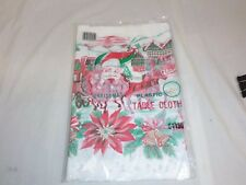 NIP Vtg Christmas Plastic Tablecloth Winter Scene Horses poinsettias 54 x 90""