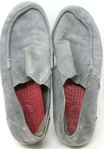 Crocs Mens Sz 8 Gray Suede Premium Shoes 14756 SUPER COMFY INSOLES #12-4