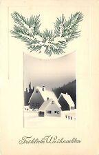 c1913 German Art Deco Airbrush Christmas Postcard Snowy Village Weihnachten