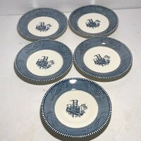 "Currier And Ives Steamboat Paddle Steamer Saucers or Bread Plates  6"" set of 5"