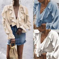 Women V Neck Casual Ruffle Long Bell Sleeve Blouse Chiffon T Shirt Tops Summer