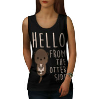 Wellcoda Hello Other Side Otter Womens Tank Top, Pun Athletic Sports Shirt
